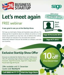 Screen grab of Sage email follow-up, including show-specific discount offer