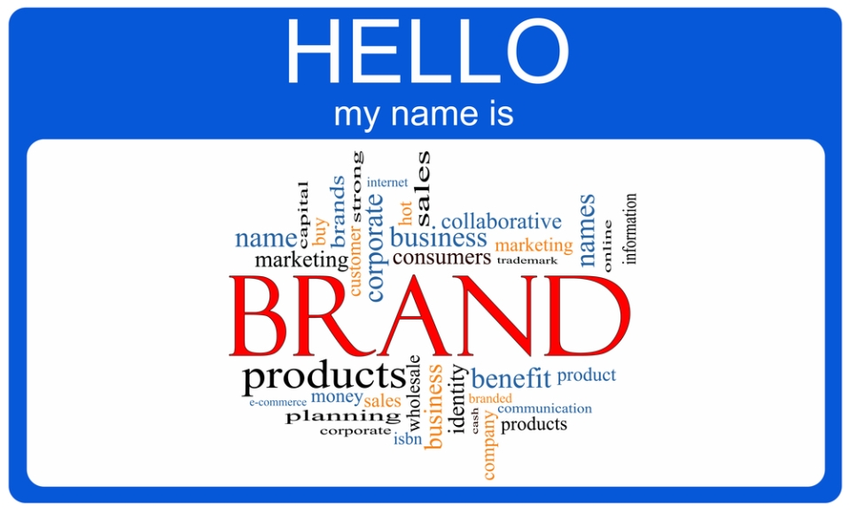 Name badge showing marketing and branding terms