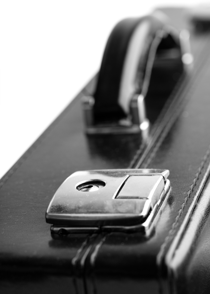 Close up of briefcase